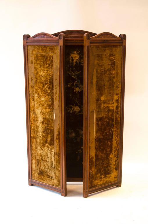 Hand-Crafted Bruce Talbert An Aesthetic Movement Three-Fold Screen with Birds Amongst Blossom For Sale