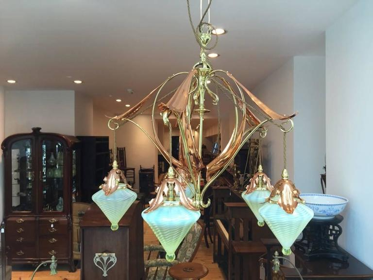 Extremely Rare Five Arm Chandelier By WAS Benson With Vaseline Powell Shades 3