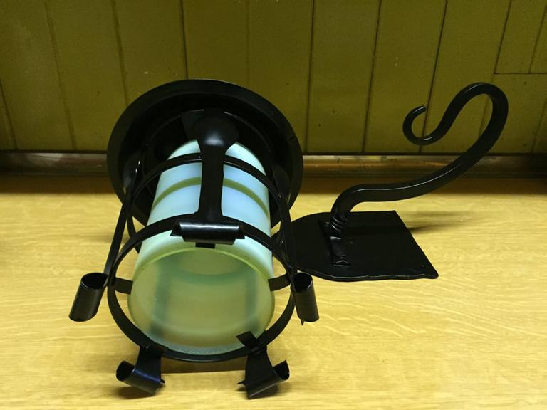 Pair of Arts and Crafts Black Enameled Hanging Lanterns In Excellent Condition For Sale In London, GB