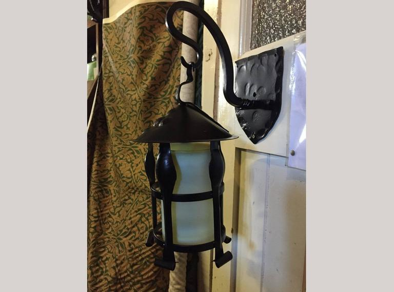 Pair of Arts and Crafts Black Enameled Hanging Lanterns For Sale 1