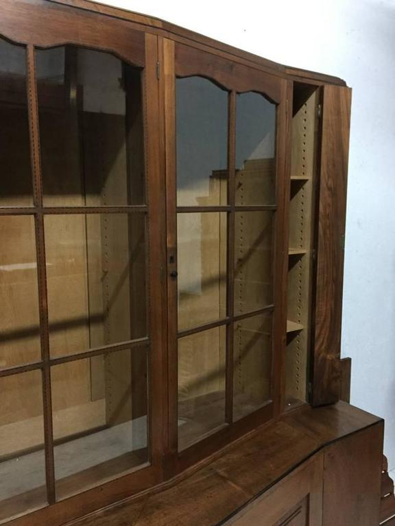 Hand-Crafted An Important Breakfront Bookcase/Cabinet designed by E Barnsley, Exhibited 1982. For Sale