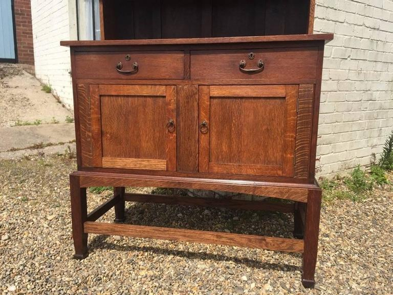 Hand-Crafted An Arts & Crafts Craftsman made simple Oak Dresser with Decorative Shaped Top  For Sale