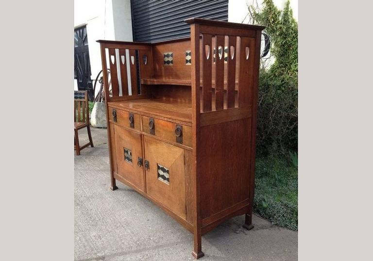 English  George Montague Ellwood Arts & Crafts Oak Sideboard & 8 Matching Dining Chairs For Sale