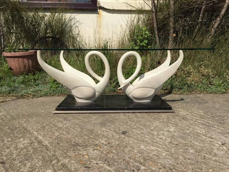 English Rare Coffee Table by Maison Jansen with White Composite Swans with Glass Top For Sale