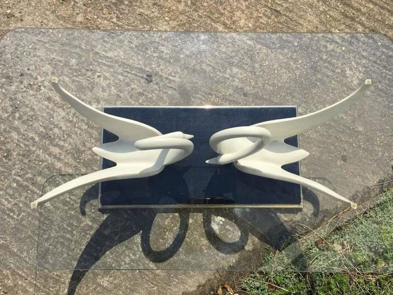Rare Coffee Table by Maison Jansen with White Composite Swans with Glass Top For Sale 2