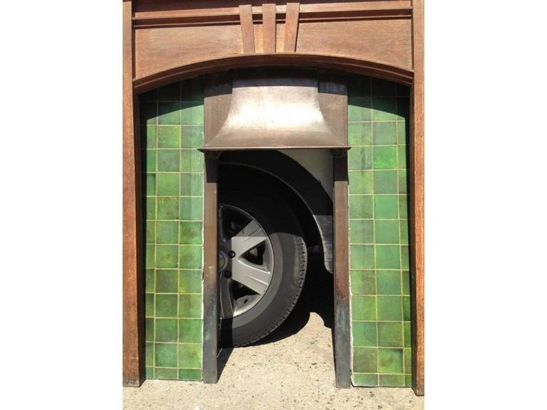 A Complete Arts And Crafts Oak Fireplace With Original Tiles And Copper Hood For Sale At 1stdibs