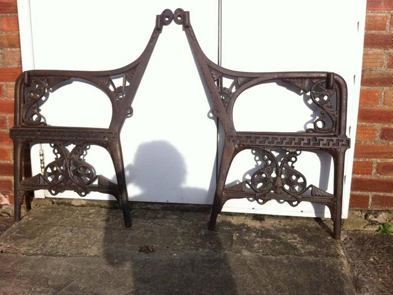 Aesthetic Movement Dr C Dresser for Colebrookdale, Period Aesthetic Cast Iron Garden Canopy Seat For Sale