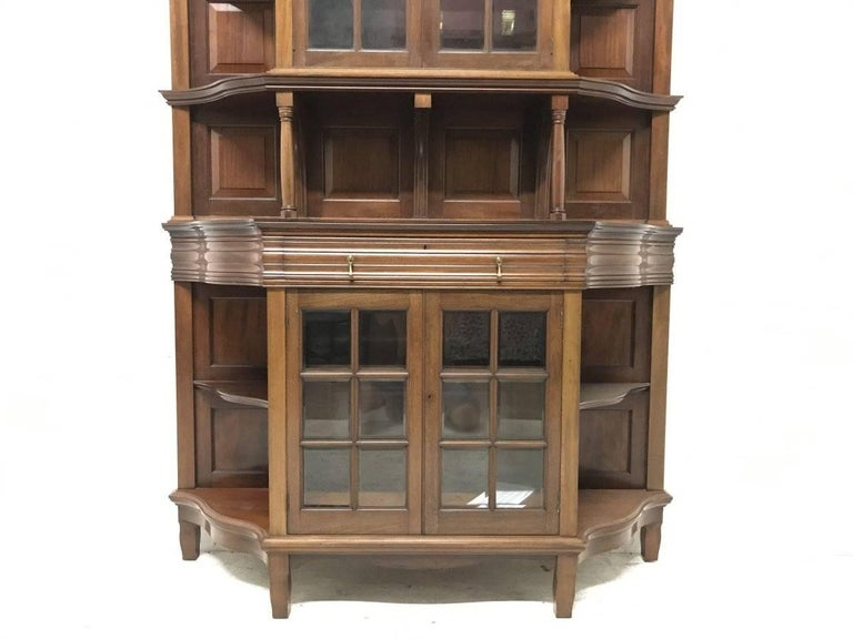 Hand-Crafted Morris & Co. Fine Mahogany Glazed Bookcase Designed by George W Jack For Sale