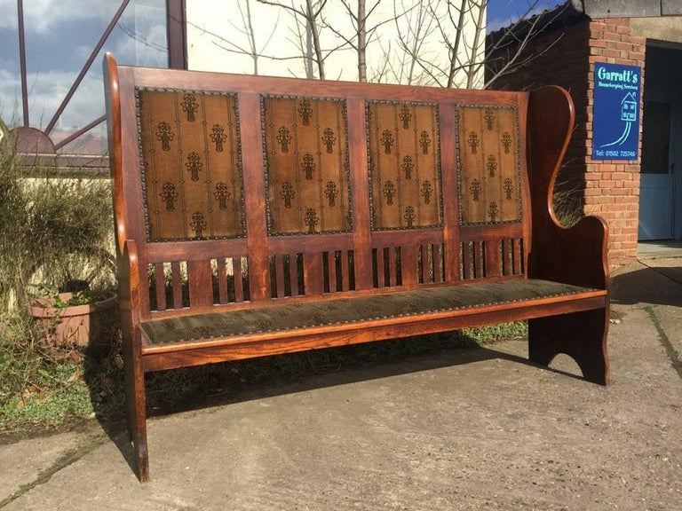 Arts and Crafts Rare Arts & Crafts Glasgow School Oak Settle with Stunning Original Fabric For Sale
