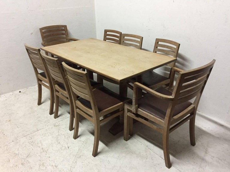 Heals limed oak dining suite with sideboard dining table eight chairs and mirror for sale at - Limed oak dining tables ...