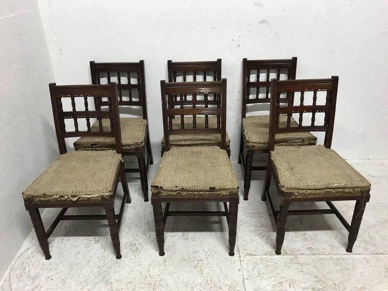Late 19th Century Bruce Talbert, for Gillows. Set of 10 Aesthetic Movement Walnut Dining Chairs