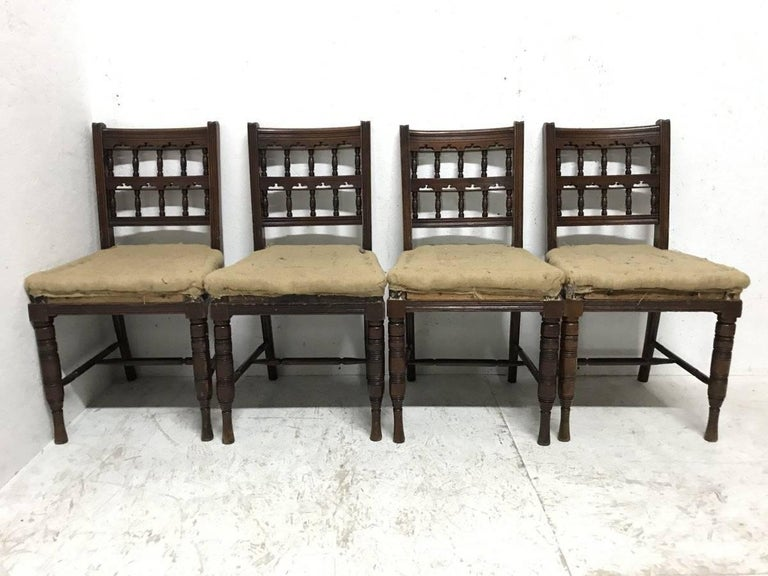 Bruce Talbert. A good quality Harlequin set of ten walnut dining chairs consisting of a matched set of six and a matched set of four. Made by Gillows of Lancaster with architectural turned details. As you can see the traditional horse hair and