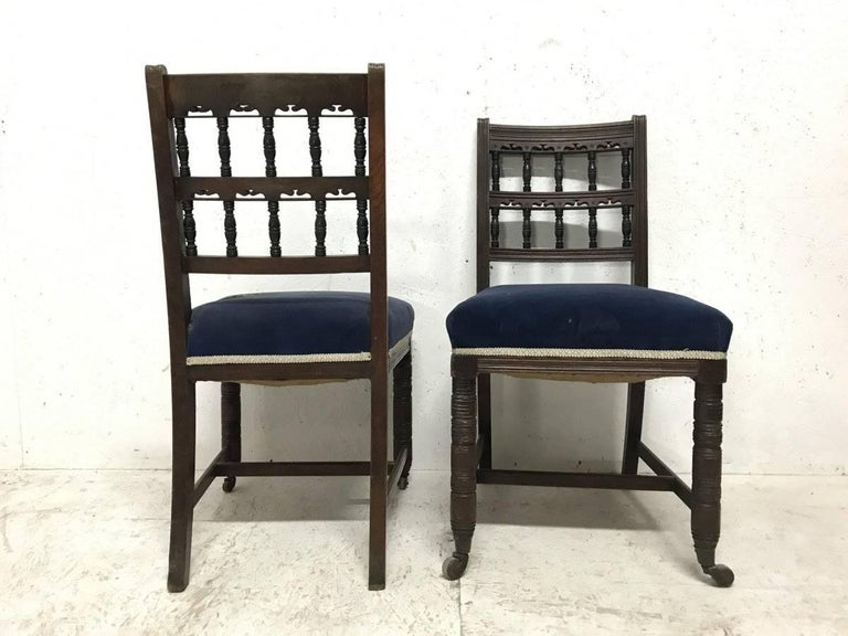 English Bruce Talbert for Gillows A Pair of Aesthetic Movement Walnut Dining Chairs For Sale