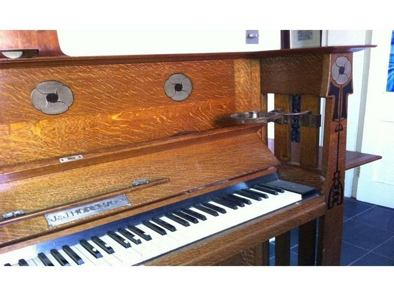 English Valkyrie Arts and Crafts Oak Piano Designed by L F Wyburd for Liberty and Co For Sale
