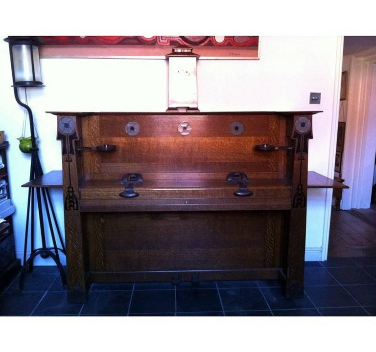Valkyrie Arts and Crafts Oak Piano Designed by L F Wyburd for Liberty and Co 2