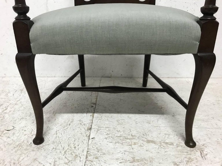 Liberty & Co. An Arts & Crafts Mahogany Armchair with an Art Nouveau Style Back  For Sale 2