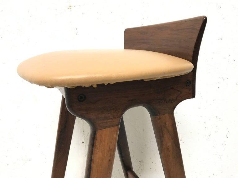 Erik Buck Chr. Christensens Mobelfabrik I/S Vamdrup Design Rosewood Bar Stool In Excellent Condition For Sale In London, GB