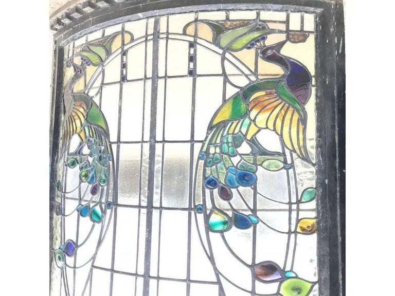 Hand-Crafted Rare Arts and Crafts Stained Glass Bow Fronted Window with Colourful Peacocks For Sale