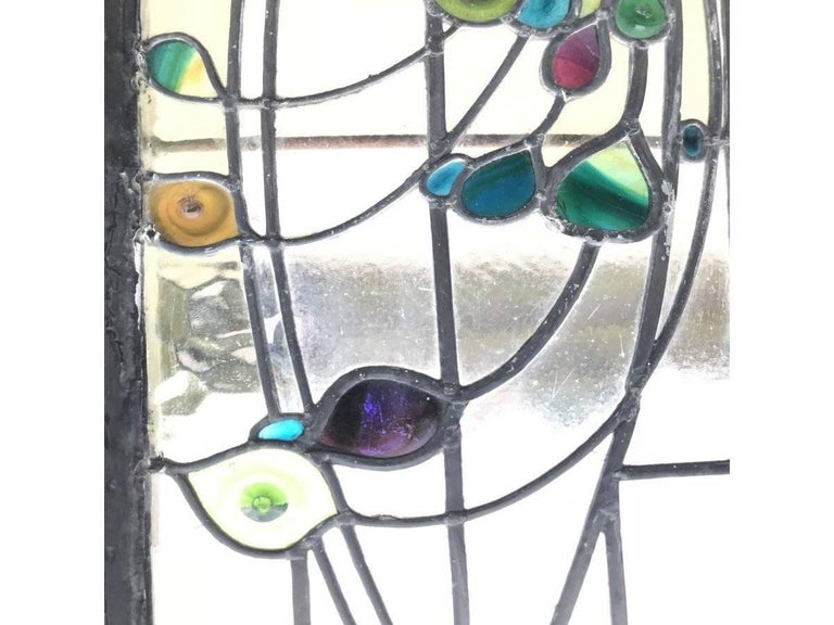 Rare Arts and Crafts Stained Glass Bow Fronted Window with Colourful Peacocks For Sale 2