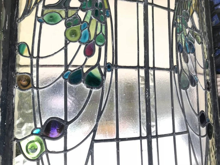 Rare Arts and Crafts Stained Glass Bow Fronted Window with Colourful Peacocks For Sale 3