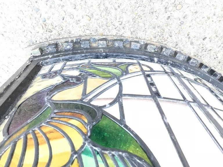 Rare Arts and Crafts Stained Glass Bow Fronted Window with Colourful Peacocks For Sale 4
