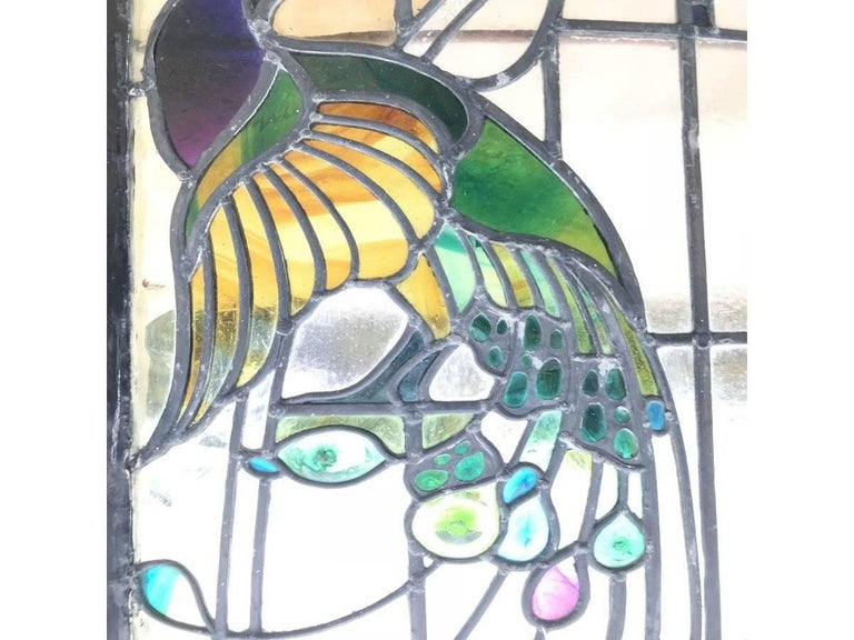 Rare Arts and Crafts Stained Glass Bow Fronted Window with Colourful Peacocks For Sale 1