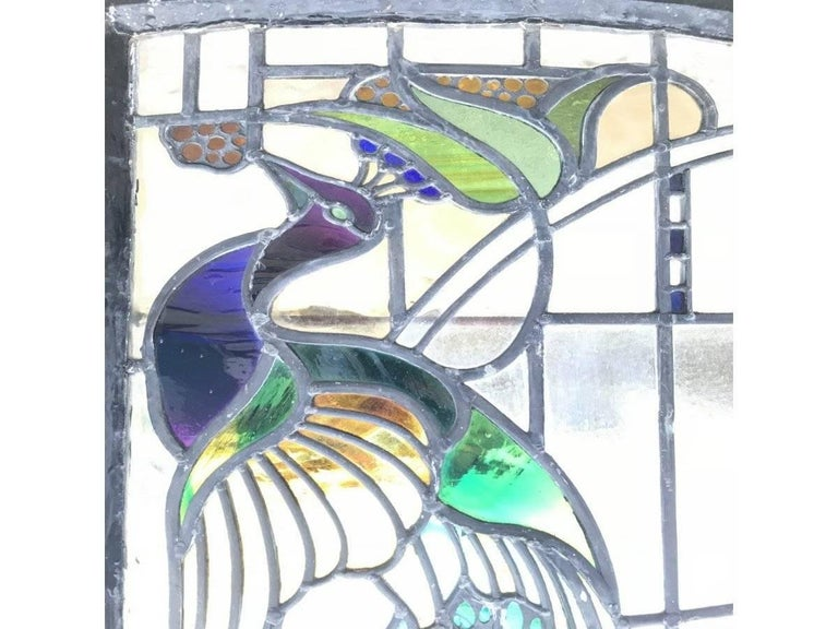 Late 19th Century Rare Arts and Crafts Stained Glass Bow Fronted Window with Colourful Peacocks For Sale