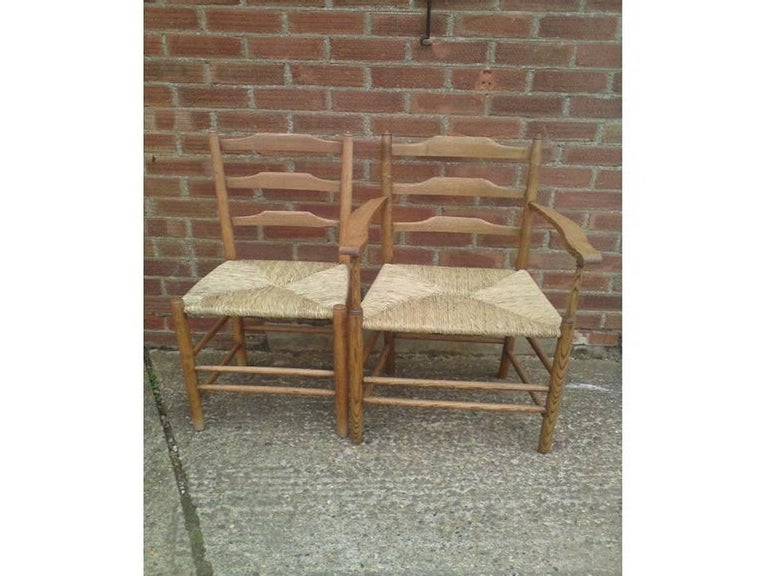 Edward Gardiner Five Arts & Crafts Ladder Back Dining Chairs with New Rush Seats In Good Condition For Sale In London, GB