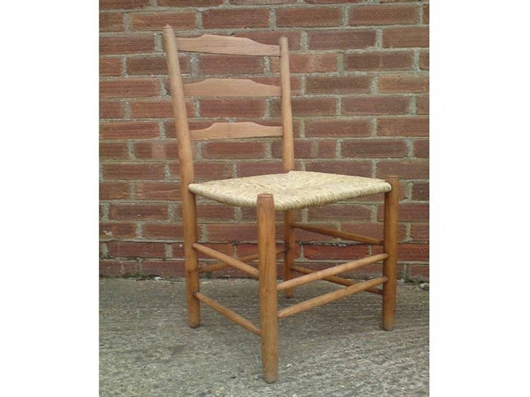 Hand-Crafted Edward Gardiner Five Arts & Crafts Ladder Back Dining Chairs with New Rush Seats For Sale