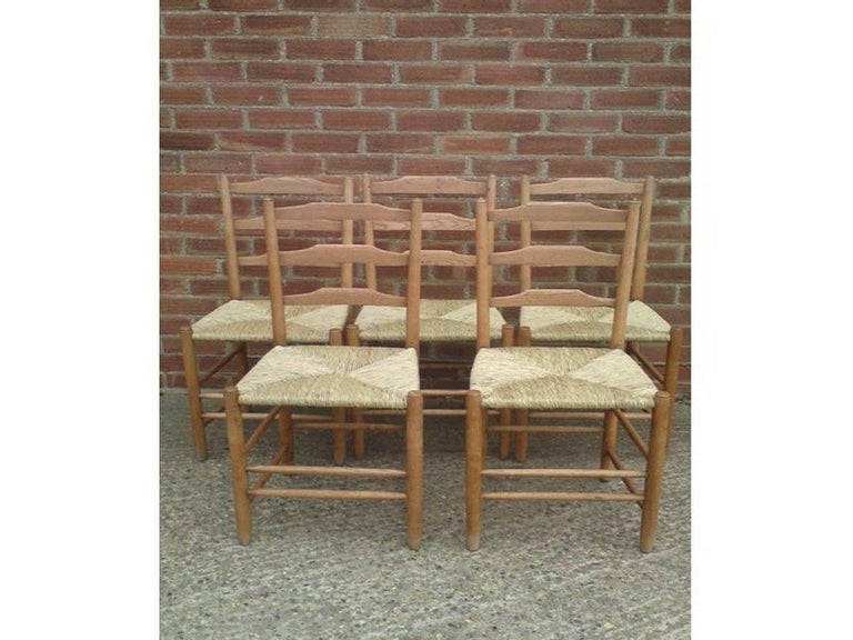 Arts and Crafts Edward Gardiner Five Arts & Crafts Ladder Back Dining Chairs with New Rush Seats For Sale