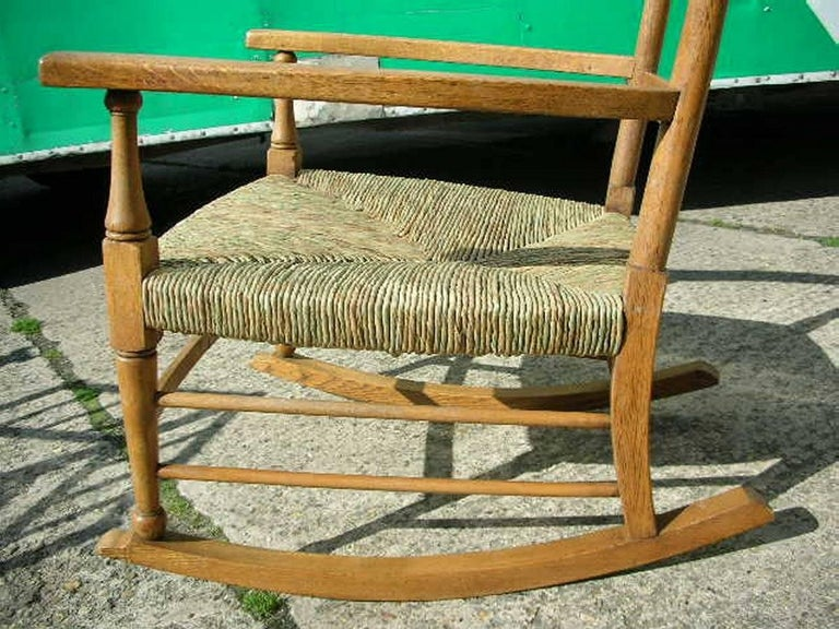 Hand-Crafted William Birch an Arts & Crafts Light Oak Rocking Chair with Newly Laid Rush Seat For Sale