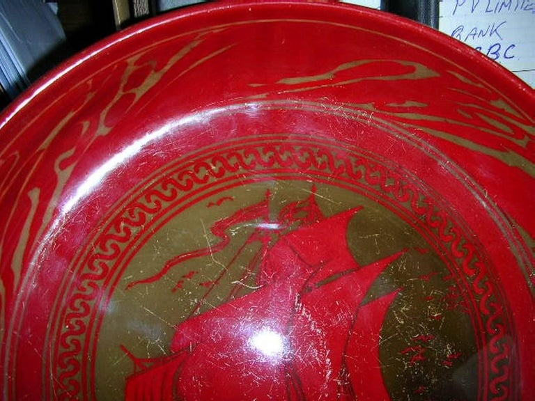 Arts and Crafts Bernard Moore, Red Flambe' Bowl Painted by E. Hope Beardmore with a Galleon For Sale