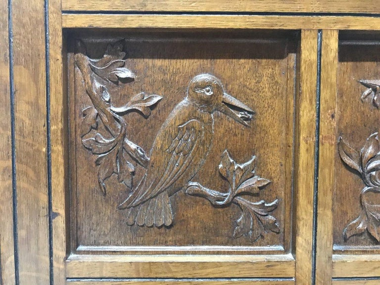 Charles Bevan, Gillows & Co. An Aesthetic Oak Cabinet with Carved Birds & Fish For Sale 2