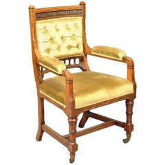 Charles Bevan Attributed, Gothic Revival Oak Armchair