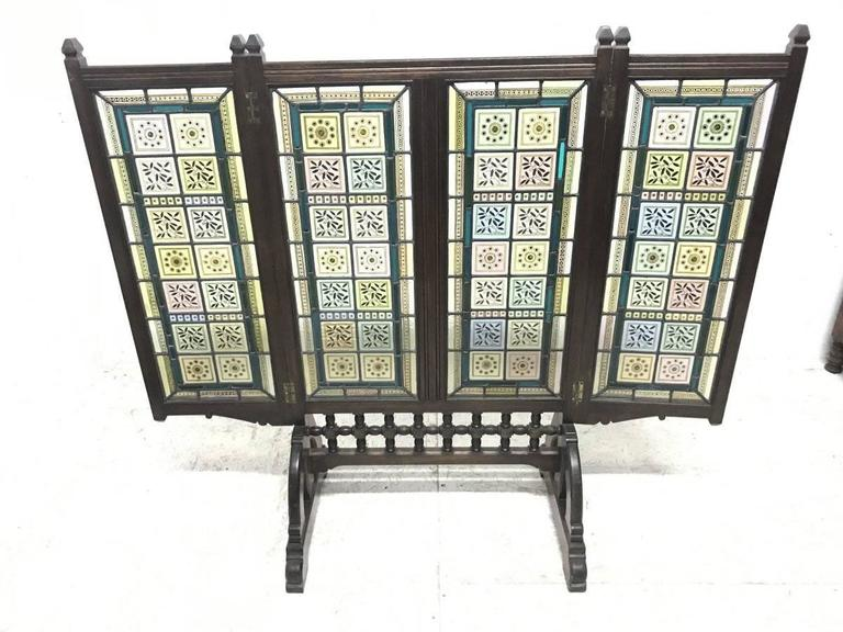 Hand-Crafted AWN Pugin Gothic Revival Oak, Leaded & Painted Glass Three-Fold Fire Screen For Sale