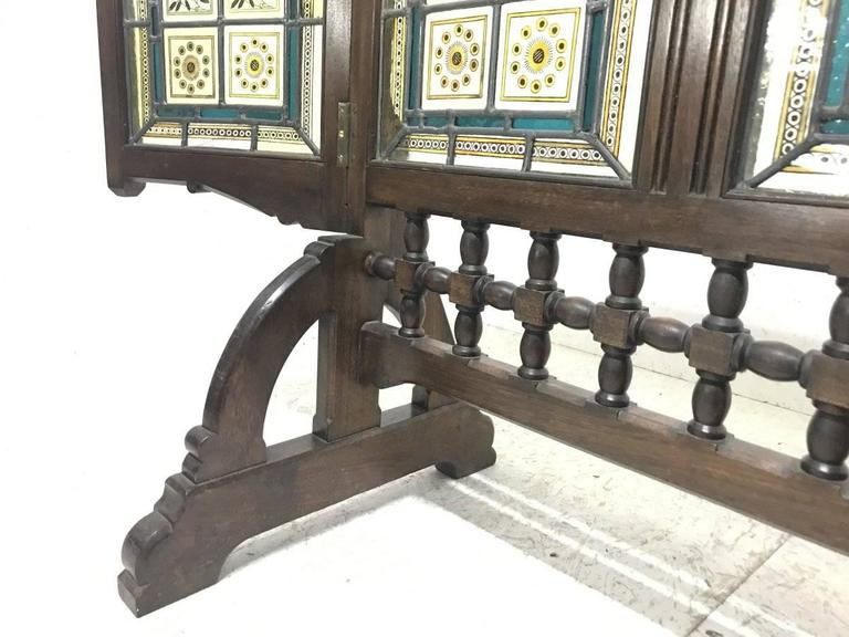 AWN Pugin Gothic Revival Oak, Leaded & Painted Glass Three-Fold Fire Screen For Sale 2