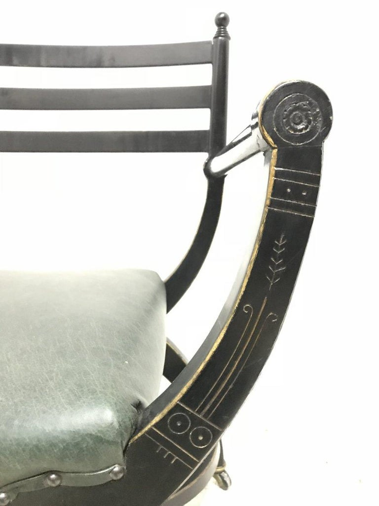 Richard Charles Aesthetic Movement Ebonised Elbow Chair with X Frame stretcher For Sale 5