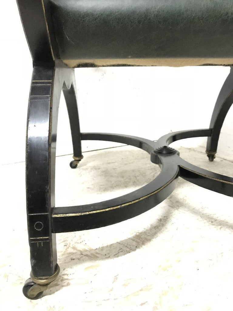 Richard Charles Aesthetic Movement Ebonised Elbow Chair with X Frame stretcher For Sale 11