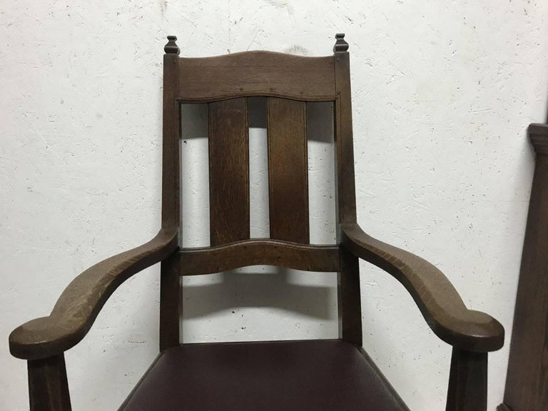 English Rare Arts and Crafts Oak Armchair by W R Lethaby For Sale