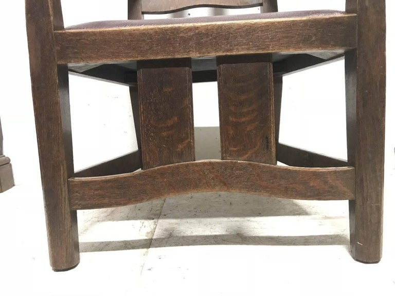 Rare Arts and Crafts Oak Armchair by W R Lethaby For Sale 3