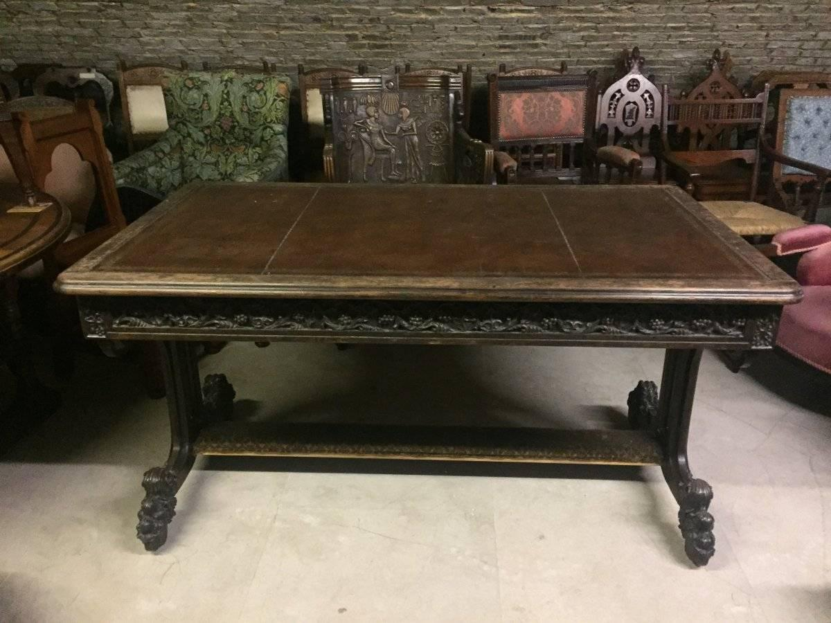 An Important Gothic Revival Carved Oak Library Table. For Sale