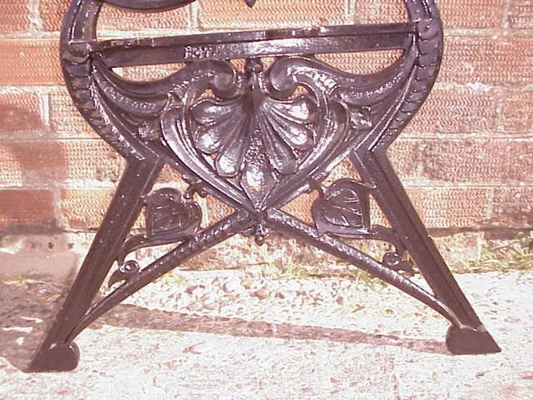 Coalbrookdale, Lily Pad Design, A Pair of Victorian Cast Iron Garden Benches For Sale 2