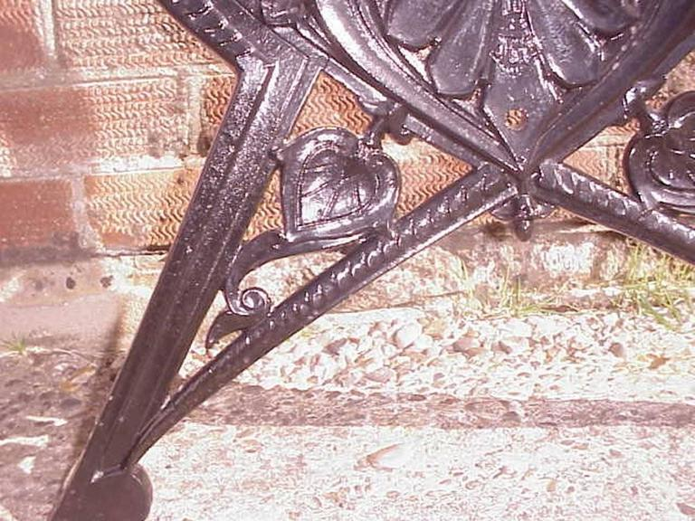 Coalbrookdale, Lily Pad Design, A Pair of Victorian Cast Iron Garden Benches For Sale 3