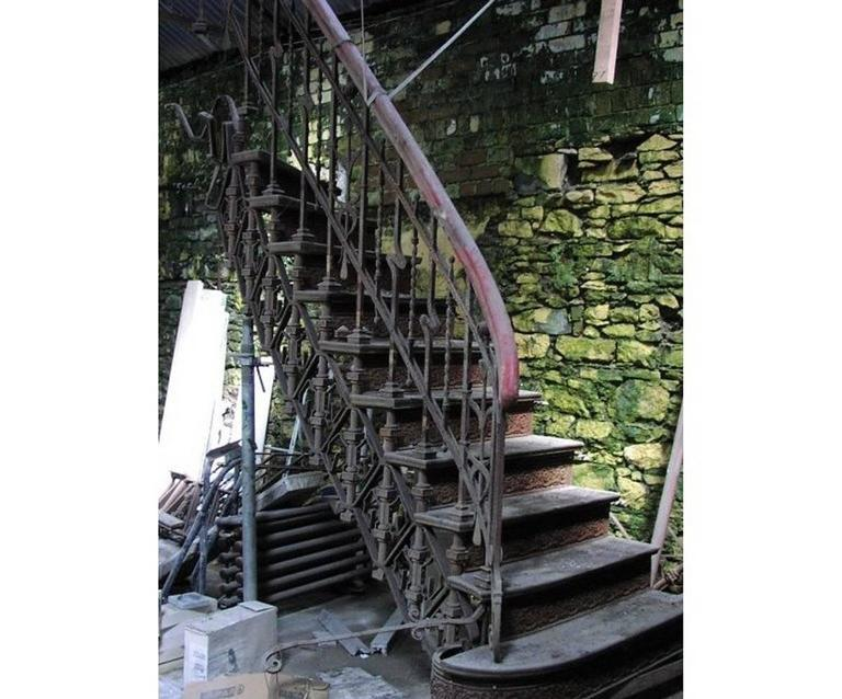 An Extremely Rare Art Nouveau Cast And Wrought Iron Double Staircase Made  By Eisenwerk Joly De
