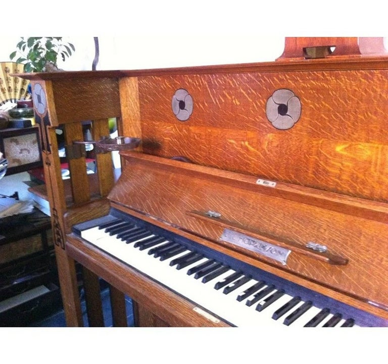 Hand-Crafted Valkyrie Arts and Crafts Oak Piano Designed by L F Wyburd for Liberty and Co For Sale