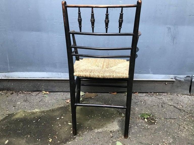 19th Century William Morris, Twelve Classic Arts & Crafts Ebonised Rush Seat Sussex Armchairs For Sale