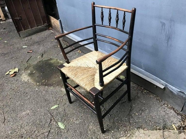 William Morris, Twelve Classic Arts & Crafts Ebonised Rush Seat Sussex Armchairs In Good Condition For Sale In London, GB