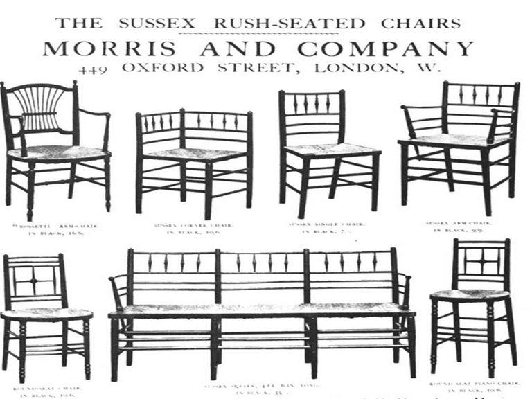 William Morris, Twelve Classic Arts & Crafts Ebonised Rush Seat Sussex Armchairs For Sale 1