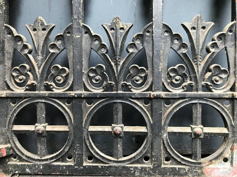 Gothic Revival Cast Iron Gate With Both Side Railings And