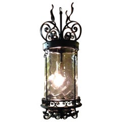 Arts & Crafts Hand Wrought  Iron Lantern with Flaming Tendrils and Dappled Shade